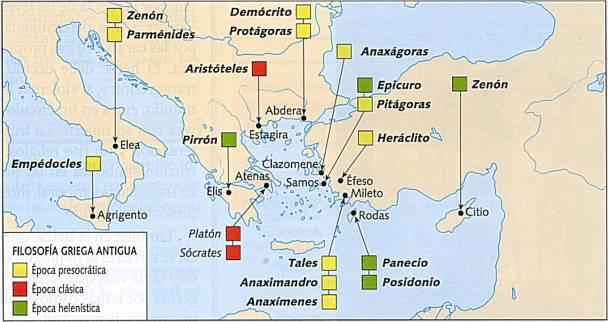 Resultado de imagen de mapa del origen de la filosofía